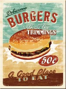 "Kühlschrank Magnet 6 x 8 cm ""Burger American """