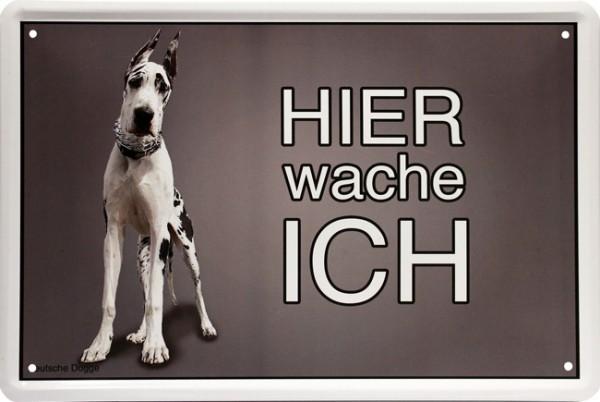 """Blechschild """" Hier wache ich - Hund Deutsche Dogge """""""