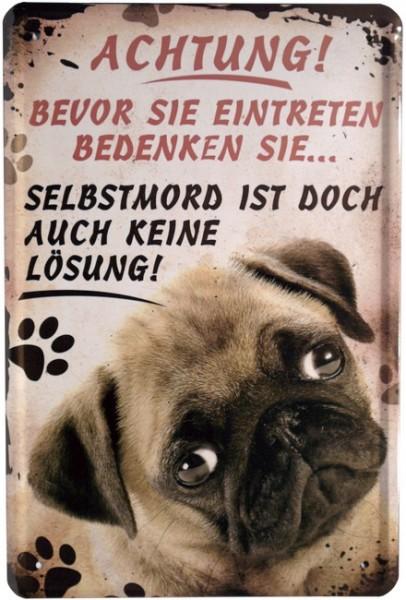 """Blechschild """"Funny Schild - Achtung Hund! Dog"""""""