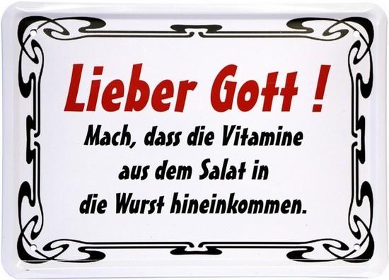 """Blechschild 15 x 21 cm """"Lieber Gott, mach..."""""""