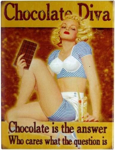 "Kühlschrank Metall Magnet "" PinUp Girl mit Schokolade """