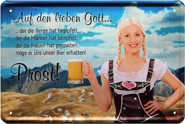 """Blechschild """" Prost auf den lieben Gott - Trinkspruch """""""