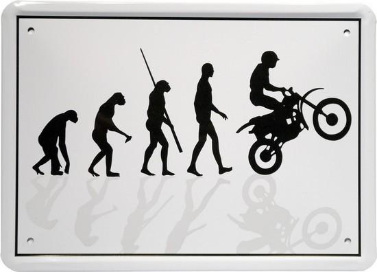 "Blechschild 15 x 21 cm ""Evolution Endurofahrer"""