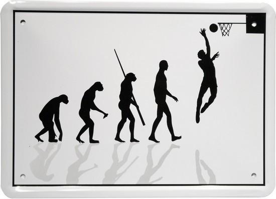 """Blechschild 15 x 21 cm """"Evolution Basketballer"""""""