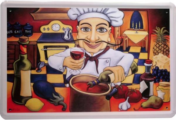 """Blechschild """"Koch in der Küche Karikatur"""""""
