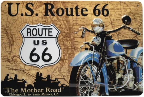 """Blechschild geprägt """"Route 66 Amerika USA Bike Motorrad"""""""