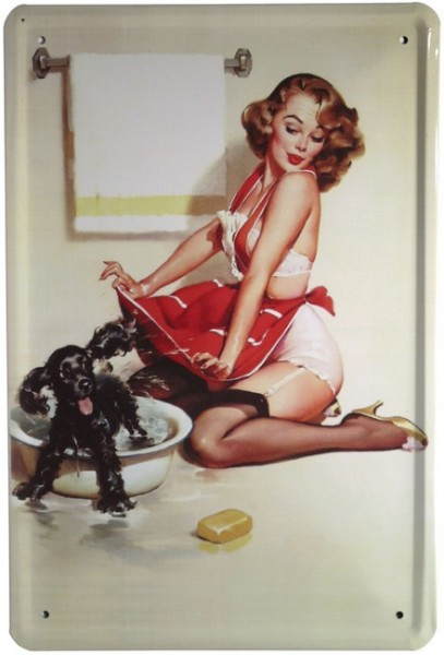 "Blechschild ""Sexy pin Up Girl mit Hund"""