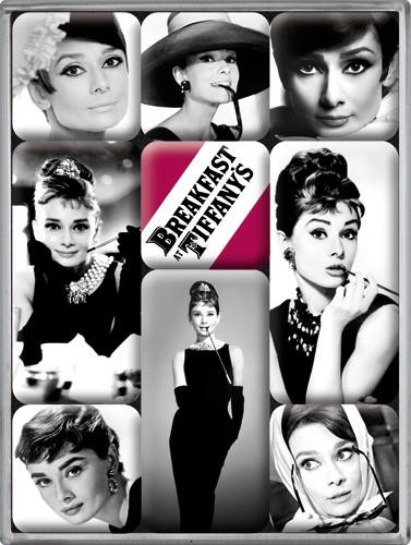 "Kühlschrank Magnet-Set 9-tlg ""Audrey Hepburn Breakfast Tiffany"""