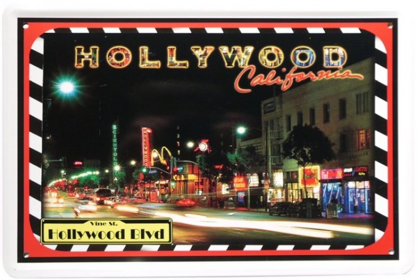 "Blechschild ""Hollywood Blvd California USA"""