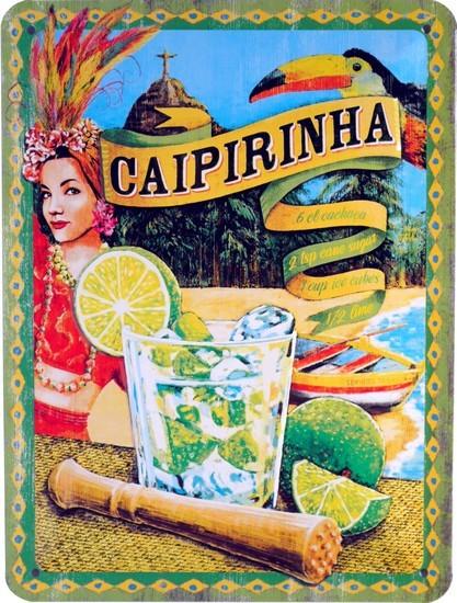 """Blechschild geprägt 15 x 20 cm """"Caipirinha Long Drink Long Drink Cocktail """""""