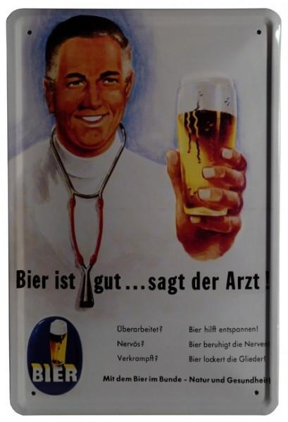 """Blechschild """"Bier ist gut ... sagt der Arzt"""""""