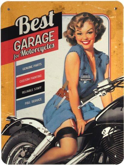 """Blechschild geprägt 15 x 20 cm """"Best Garage Motorrad Bike"""""""