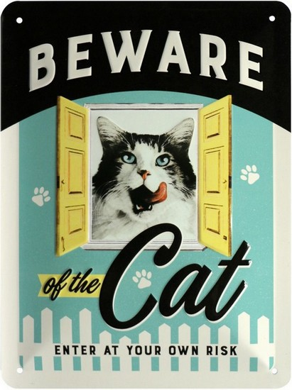 "Blechschild geprägt 15 x 20 cm ""Beware of the cat"""