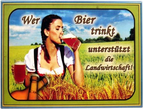 """Kühlschrank Metall Magnet """" Wer Bier trinkt..."""""""