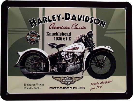 """Blechschild geprägt 15 x 20 cm """"Harley Davidson Knucklehead Motorrad"""""""