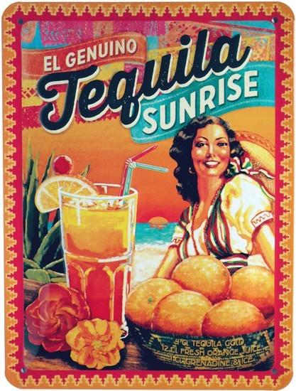 "Blechschild geprägt 15 x 20 cm ""Tequila Sunrise Long Drink Cocktail """