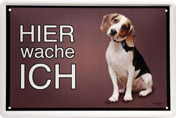 """Blechschild """" Hier wache ich - Hund Beagle """""""