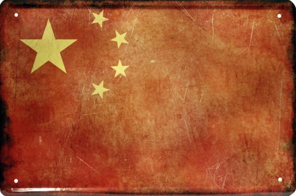 """Blechschild Länder Flagge """" China """""""